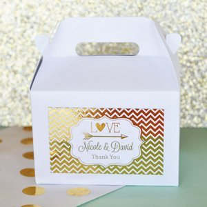 Personalized Metallic Foil Mini Gable Boxes - Set of 12 image