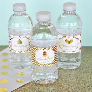 Personalized Metallic Foil Wedding Water Bottle Labels image
