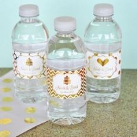 Personalized Metallic Foil Wedding Water Bottle Labels