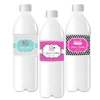 Sweet Sixteen (or 15) Water Bottle Labels