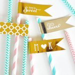 Personalized Metallic Foil Flag Wedding Labels