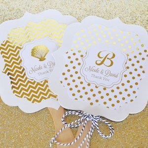 Personalized Metallic Foil Paddle Wedding Fans image