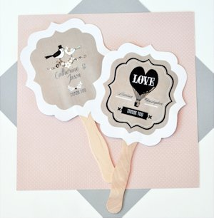 Personalized Vintage Wedding Fan Favors - Paddle Style image
