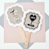 Personalized Vintage Wedding Fan Favors - Paddle Style