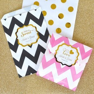 Personalized Metallic Foil Chevron & Dots Goodie Bags image