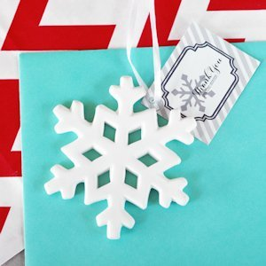 Porcelain Snowflake Ornament Wedding Favors image