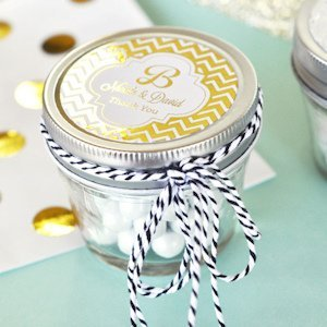 Personalized Metallic Foil Wedding Mason Jars - 4 oz image