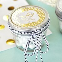 Personalized Metallic Foil Wedding Mason Jars - 4 oz