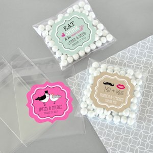 Personalized Clear Wedding Candy Bags (Set of 24) image