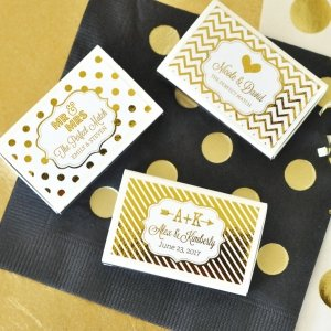Metallic Foil Personalized Match Boxes (Set of 50) image