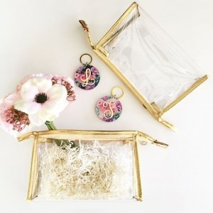 Gold Trim Clear Cosmetic Bags image