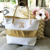 Monogram Gold Striped Tote