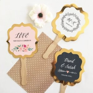 Personalized Floral Garden Gold Paddle Fans image