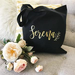 Custom Name Tote Bags (Black or Natural) image