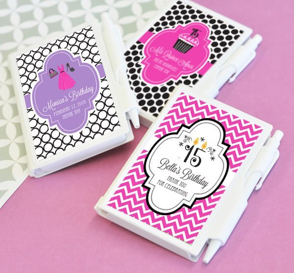 Personalized notebook sweet 15 party favors for Wholesale quinceanera craft supplies