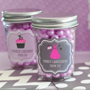 Personalized Quinceanera Favors - Mini Mason Jars image