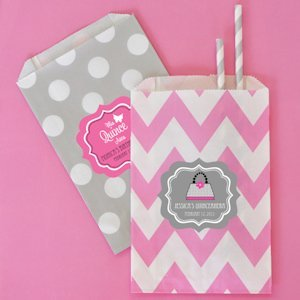 Quinceanera Chevron & Dots Souvenir Goodie Bags (Set of 12) image