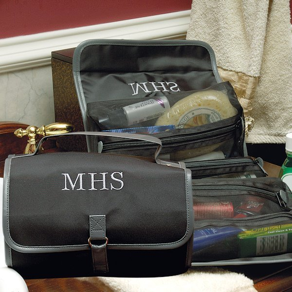 Mens Wedding Party Gifts: Personalized Black Micro Fiber Toiletry Bag For Men