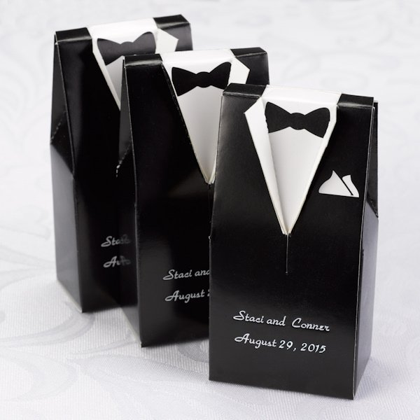 Wedding Gown Boxes: Personalized Black Tux & White Gown Favor Boxes (Set Of 25