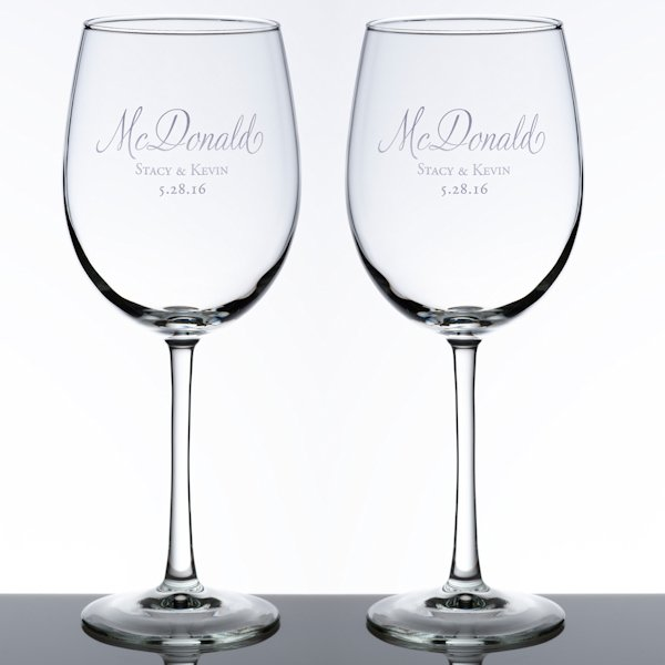 Wedding Wine Glass Set (5 Personalized Design Options)