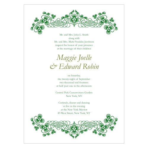 Irish Wedding Invitations: Luck Of The Irish Wedding Invitations (Set Of 4