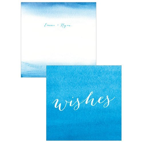 Caribbean blue favor boxes : Aqueous memory box wishing well cards