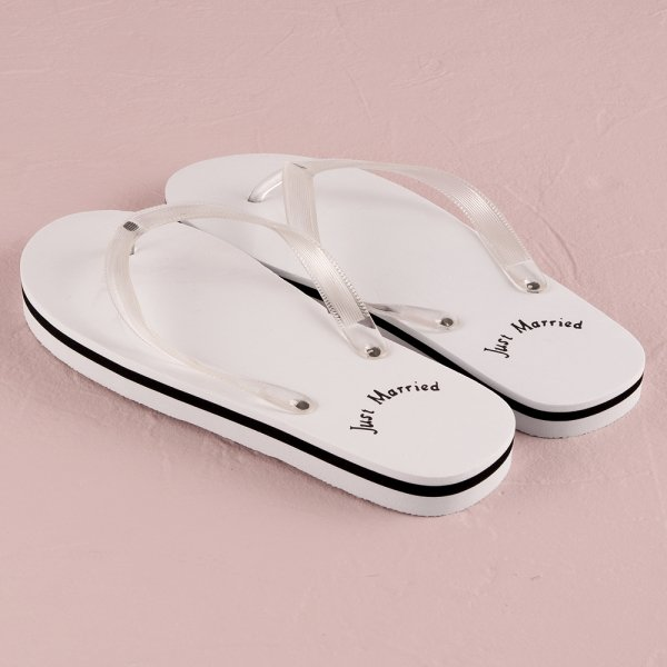 bec107c9a049 Just Married Bride and Groom Flip Flops Extra ...