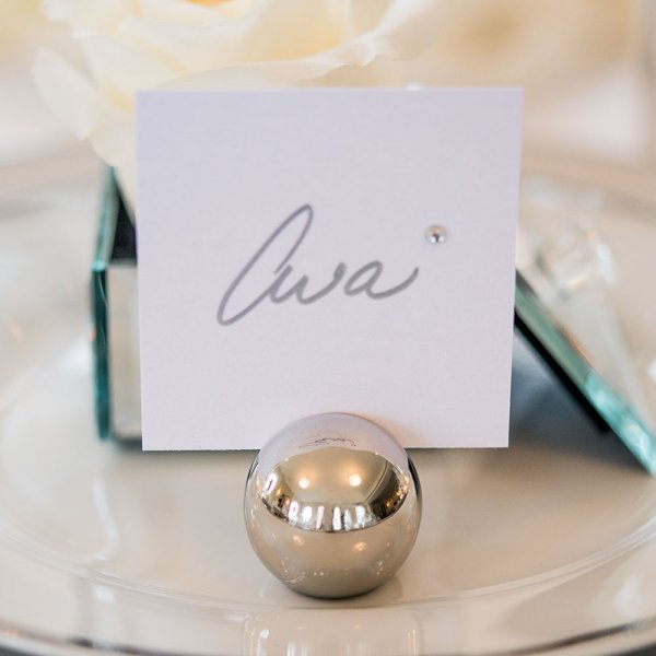 Round Silver Ball Place Card Holders (Set Of 8
