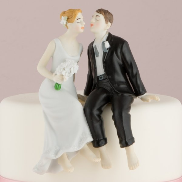 Sitting Bride And Groom Wedding Cake Toppers
