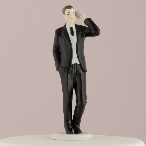 Design Your Own Bride And Groom Cake Toppers : Cell Phone Bride & Groom Humorous Wedding Cake Toppers