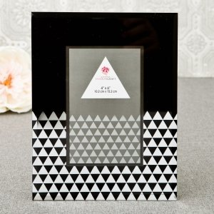 Black Geometric Glass Frame With Mirror image