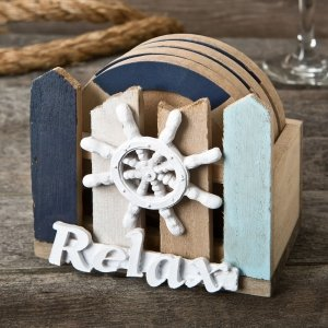 Ship's Wheel Coaster Set Favors image