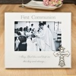 First Communion 6 x 4 Frame With Ornate Metal Cross