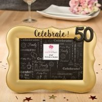 Magnificent Celebrate Gold 50th Debossed 4 x 6 Frame