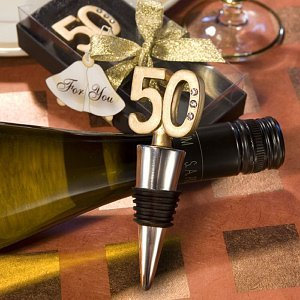 Golden 50th Wedding Anniversary Favor Bottle Stoppers Image