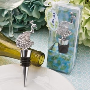 Stunning Peacock Bottle Stopper Favors image