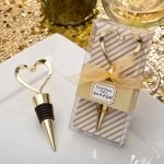 Gold Heart Design Metal Bottle Stopper Favors