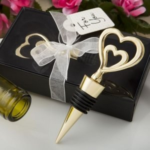 Gold Double Heart Design All Metal Bottle Stopper image
