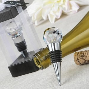 Glass Crystal Faceted Top Chrome Bottle Stopper Favors image