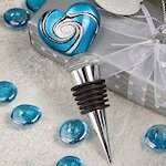 Blue Murano Heart Wine Bottle Stoppers Favors