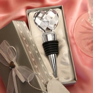 Crystal Heart Bottle Stopper Wedding Favor image