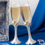 Joined Hearts Toasting Flutes