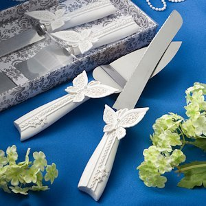 Fluttering Butterflies Knife and Server Set image