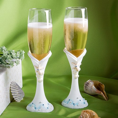 shimmering starfish champagne flutes. Black Bedroom Furniture Sets. Home Design Ideas