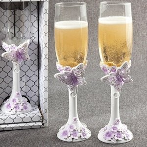 Beautiful Butterfly Wedding Toasting Flutes image