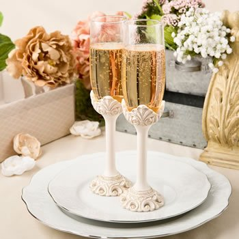 Vintage Flair Design Ivory Champagne Toasting Glass Set image