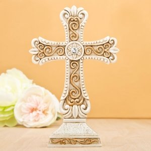 Antique Design Cross Statue in Ivory and Matte Gold image