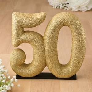 50th Themed Gold Glitter Center Piece Cake Topper image