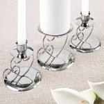 Double Heart Silver Unity Candle Stand Set