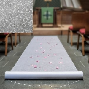 White Aisle Runner With A Floral Lace Design image